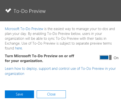 Enabling Microsoft To-Do for your Office 365 tenant.