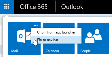 Pin Outlook to the nav bar from the App Launcher menu.