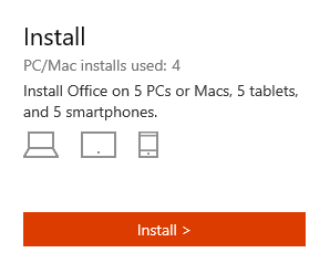 Office 365 Install link on the My Account page.