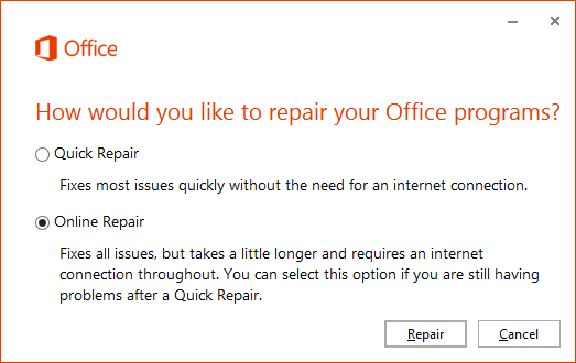 how to bring ms outlook back online