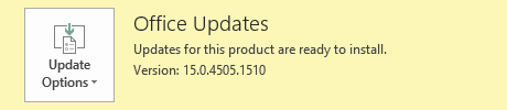 Office 365 - Updates for this product are ready to install.