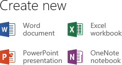 Create new - Word, Excel, PowerPoint, OneNote (Office Web Apps on SkyDrive)