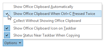 Enabling the 2x CTRL+C keyboard Office Clipboard keyboard shortcut