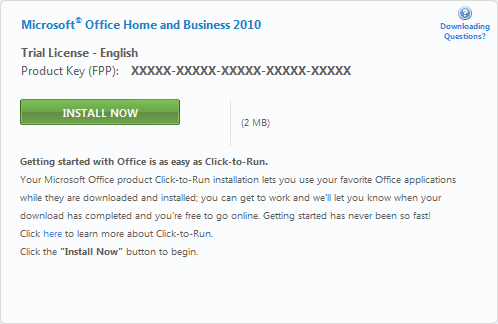 Install Click-to-Run Office 2010