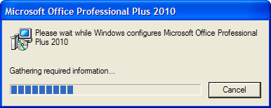 Please wait while Windows configures Microsoft Office Professional Plus 2010