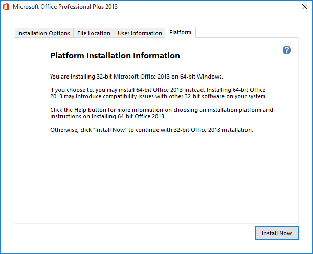 Installation Information about the availability of the 64-bit version of Office 2013. (click on image to enlarge)