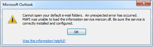 Cannot open your default e-mail folders. An unexpected error has occured.