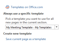 Create and/or set the default template for a section.