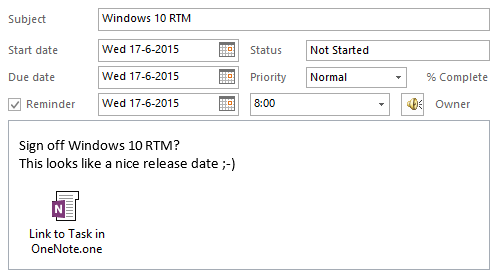 A Task item in Outlook with a reference back to the OneNote page where it was created.