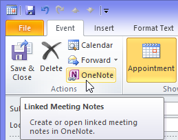 Creating Linked Meeting Notes in OneNote from an opened Appointment, Meeting or All Day Event in Outlook.