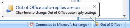 The Out of Office reminder in Outlook 2007 on Windows 7.