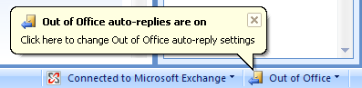 Outlook 2007 - Out of Office auto-replies are on
