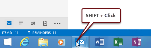 Hold SHIFT while clicking the Outlook icon to launch an extra window in Windows 7, Windows 8 or Windows 10