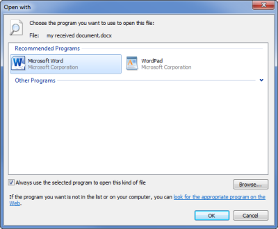 "The ""Open with..."" dialog gives you a clear dialog to change the default program for a specific file type. (click on image to enlarge)"