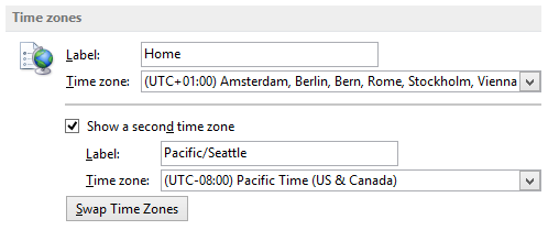 Outlook Calendar Options - Adding an additional time zone to your time scale in the Calendar.