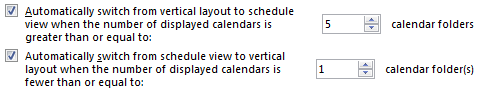 Set the default for when Outlook should automatically switch to the Schedule view and back.