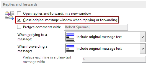 Replies and forwards - enable option: Close original message window when replying or forwarding.