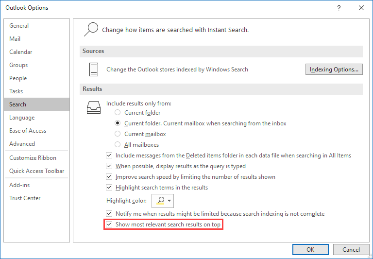 Outlook Options - Search - Show most relevant search results on top