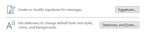 In rare cases, the Signatures... and Stationery and Fonts... buttons in Outlook's Options may not be working for you.