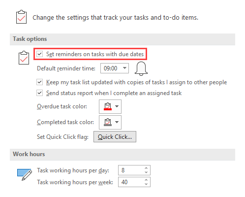 Task Options: Set reminders on tasks with due dates.