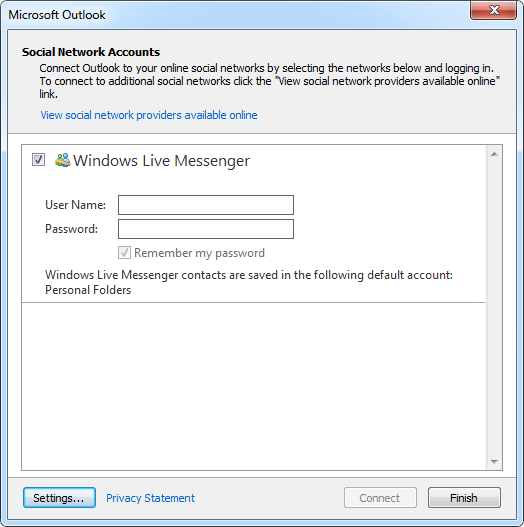 Windows Live Messenger provider for the Outlook Social Connector (OSC)