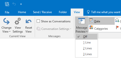 In Outlook 2013 and Outlook 2016, you can configure Message Preview to show 1, 2 or 3 lines of preview text.