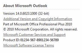 About section of the help dialog of Outlook 2010.