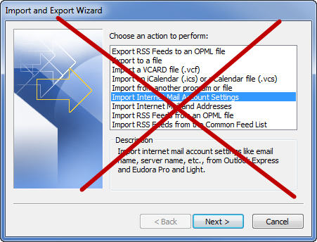 Don't use the Import feature of Outlook to import from OE, WM or WLM.