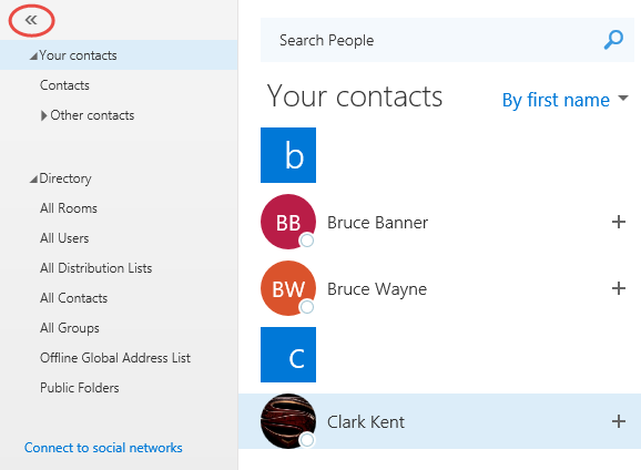 switching between address lists in exchange online and outlook on