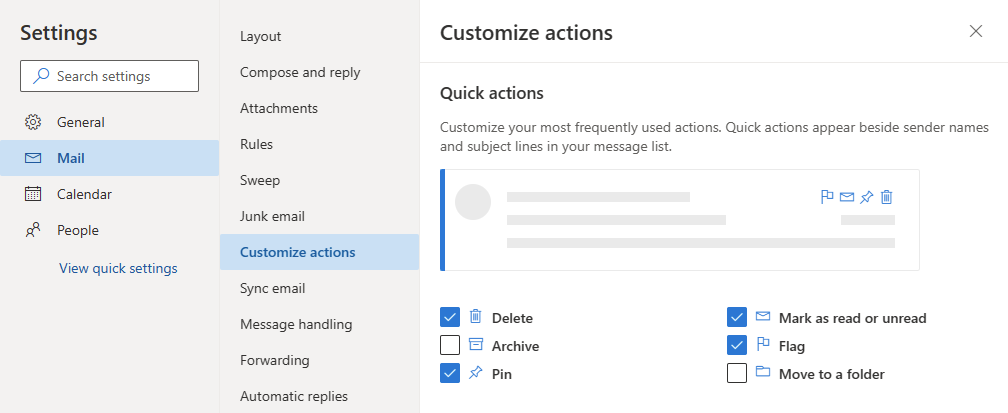 Quick Actions Options dialog in Outlook on the Web.