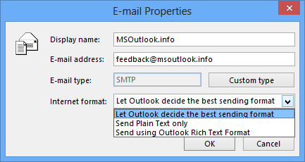 E-mail Properties dialog in Outlook 2013