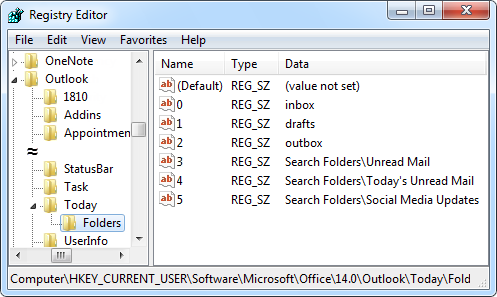 Adding Search Folders to Outlook Today can only be done via the Registry.
