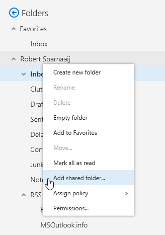 Add shared folder - Outlook on the Web