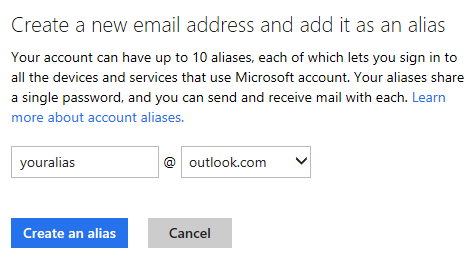 Outlook.com - Create a new email address and add it as an alias