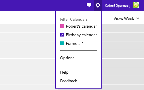 Select or deselect Calendars to mimic folder switching in Outlook.com.