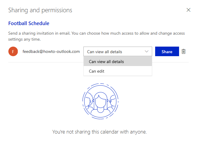 Set permissions on the shared calendar and send invitations by email.