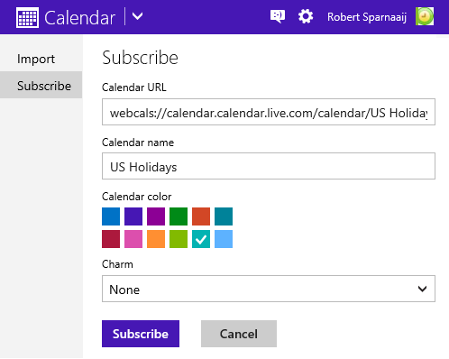 Subscribing to the US Holidays Web Calendar in Outlook.com