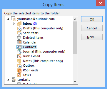 Copy Items - Contacts - Outlook.com