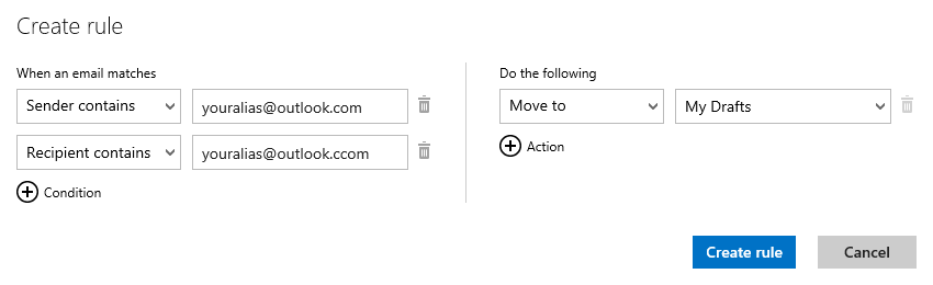 Outlook.com - Create a rule for my Drafts (click on image to enlarge)