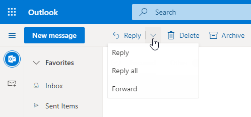Click on the dropdown arrow of the Reply button to reveal the Forward and Reply All message commands.