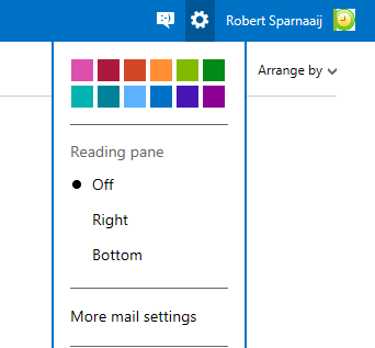 You can find the Outlook.com options under the Gear menu.