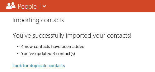 Outlook.com - People - You've successfully imported your contacts! Look for duplicate contacts