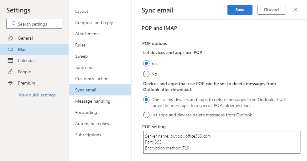 Enabling POP3 access for your Outlook.com account.