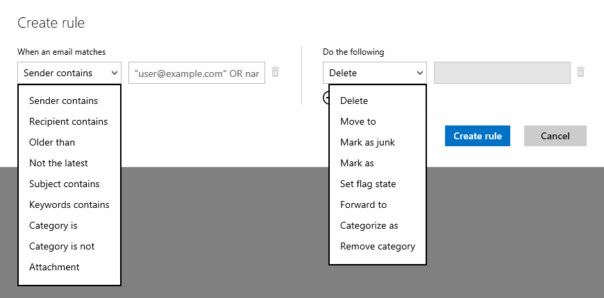 Rule conditions and actions in Outlook.com (click on image to enlarge).