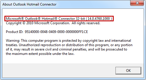 Outlook Hotmail Connector version dialog box