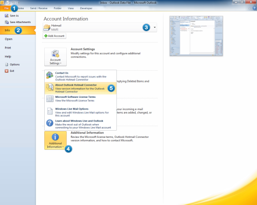 Looking up the Outlook Hotmail Connecter version in Outlook 2010 (click on image to enlarge)