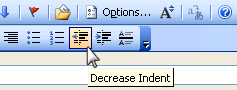 Indent option in the Outlook editor