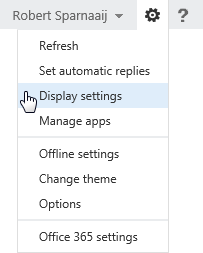 Gears menu in Outlook Web Access 2013 contains Display Settings to control the Reading Pane location.