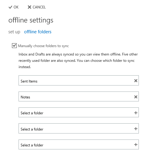 You can configure up to 5 folders to sync for offline access in OWA 2013.
