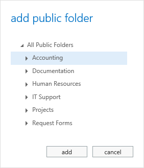 OWA 2013 - Add Public Folder - Folder List